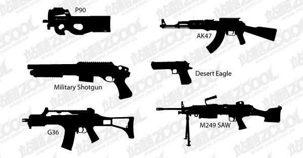ベクトルのシルエットの銃の素材