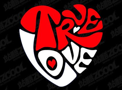 texte Truelove vecteur de matériau en forme de cœur