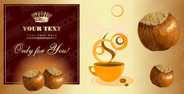 栗とコーヒーのテーマのベクター素材