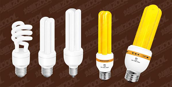 สีเหลือง และสีขาวประหยัดพลังงานโคมไฟเวกเตอร์