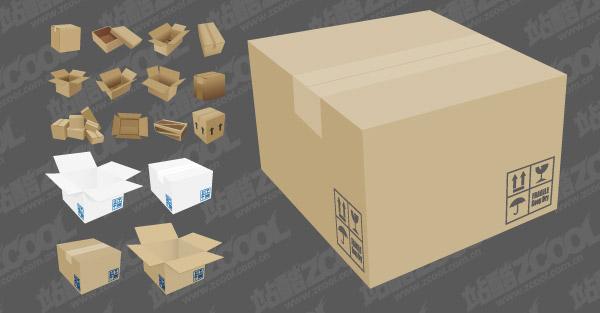 Material de la caja de cartón de vectores
