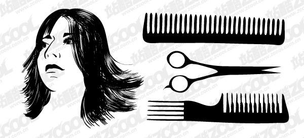 Matériau de vecteur de coupe de cheveux cheveux