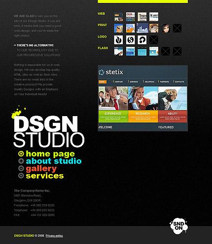 デザイナーの個人的なホームページのフラッシュのサイト全体のテンプレート素材