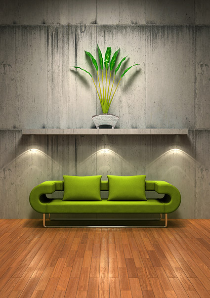 緑のソファの古い壁画像素材