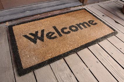 Matériel photo de tapis Bienvenue