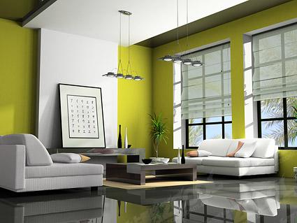 緑のモダンなリビング ルーム画像素材