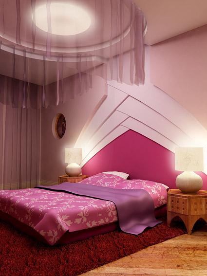 暖かいトーン紫部屋画像素材