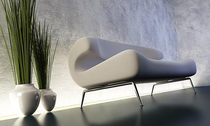 Sofa 3D tampilan gambar dan tanaman bahan