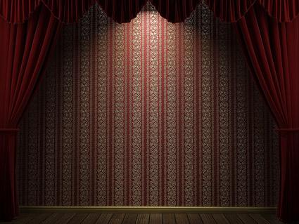 Continentales patrones de cortina Roja y el material de imagen de pared