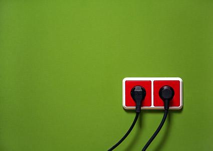 Material de imagen de socket de pared verde rojo
