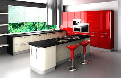 Material de imagen de moda tono rojo cocina