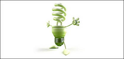 緑の省エネ電球子供写真素材