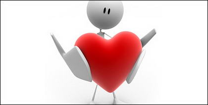 Celebración de imagen en forma de corazón poco material 3D