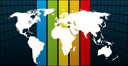 Espaces arc-en-ciel ligne matériel vecteur carte d'arrière-plan du monde