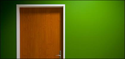 สีเขียวกำแพงและประตูรูปภาพวัสดุ