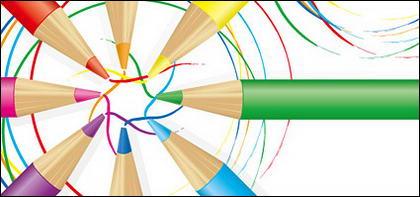 Crayon de couleur et de matériel de vecteur de couleur ligne
