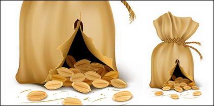 Le sac contenant du matériel de vecteur de grains de café