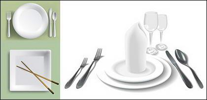 Matériau de vecteur de vaisselle blanche