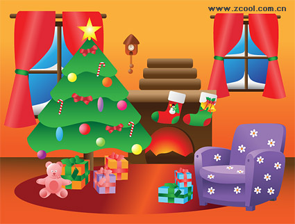 Hermosa decoración de Navidad interior