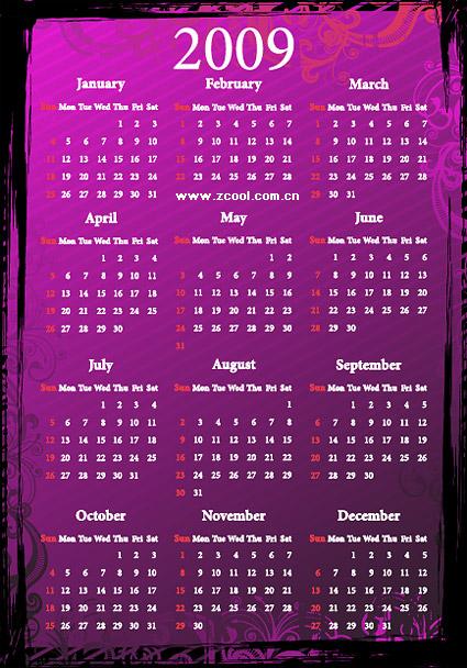 2009 カレンダー パターン ベクトル材料