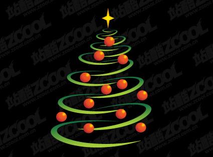 구 선 및 크리스마스 트리 벡터 자료의 구성