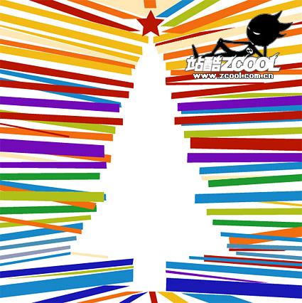 Красочные Рождественская елка линии заклинание векторного материала