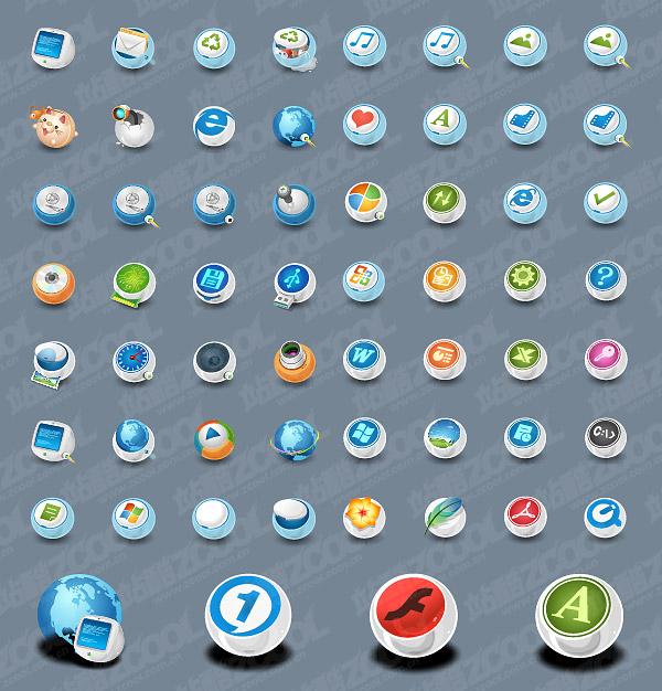 Clásico icono circular en el sistema