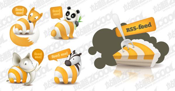 Милый животных тема подписаться на rss икона векторного материала