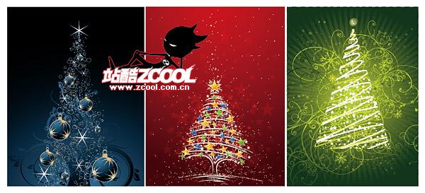 Мигающие Рождественская елка векторного материала
