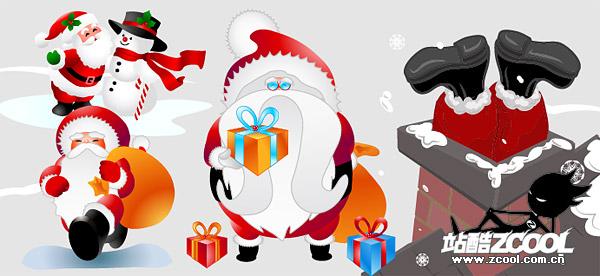 precioso material de vectores de Santa Claus