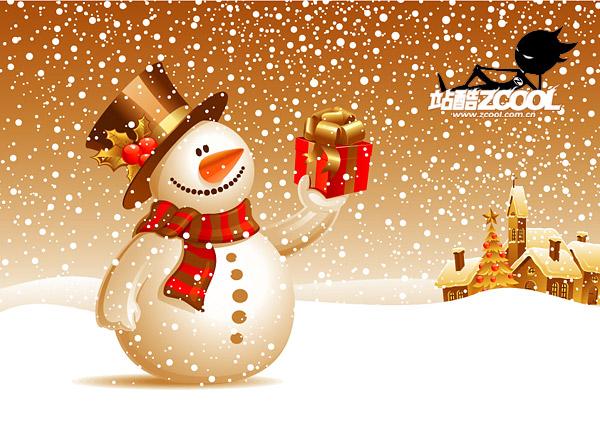 Nieve muñeco de nieve fina de material de vectores
