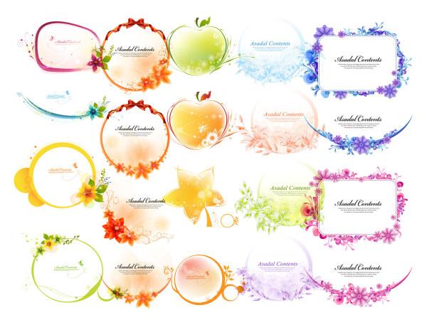 Ruban, les arcs, les pommes, les feuilles, les fleurs