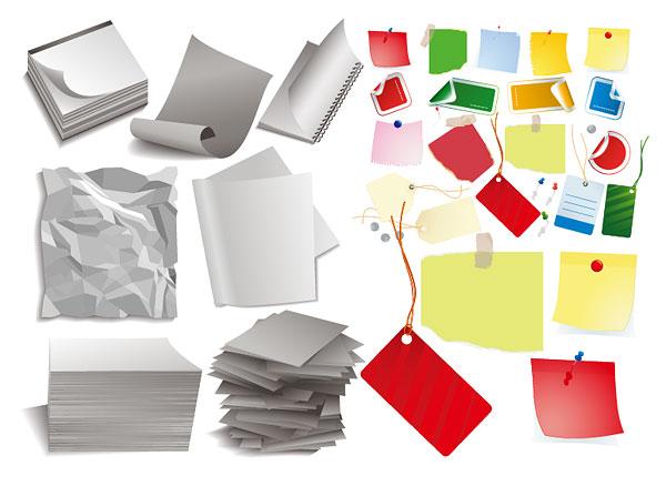 紙、文房具、ロープのベクトル