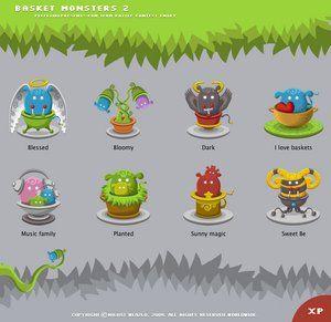 Icônes de monstres de panier