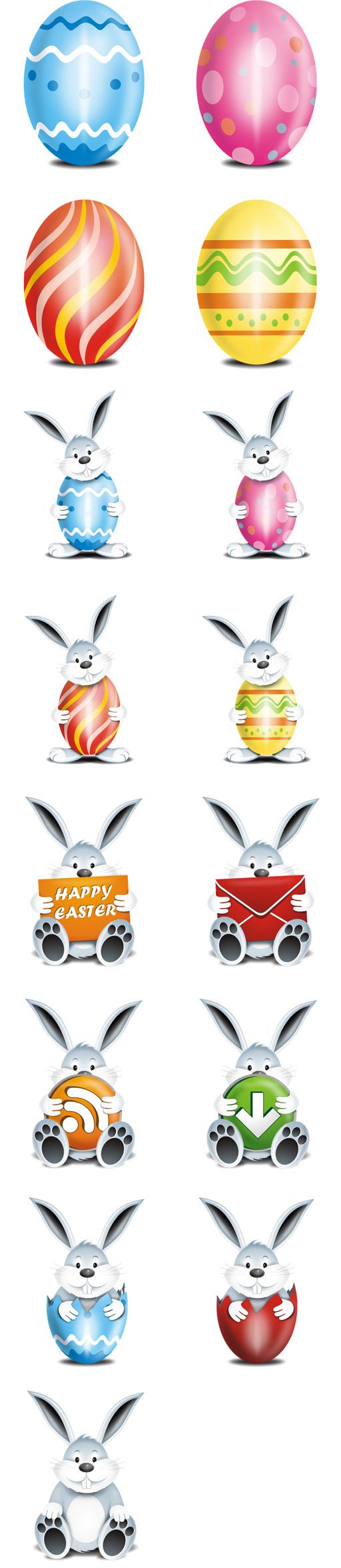 Icono de huevo de conejos, Pascua,