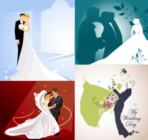 Casado, beso, bailando, la novia, novio de vectores