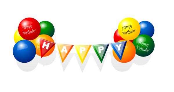 สุขสันต์วันเกิดบอลลูนเวกเตอร์