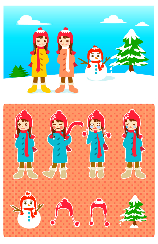 雪だるまと少女ベクトル