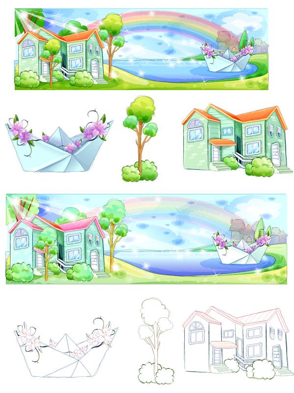 手描きスタイル、夏スタイル シリーズのベクトル-5