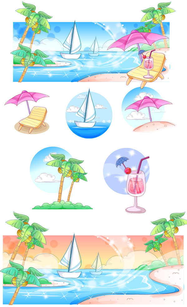 手描きスタイル、夏スタイル シリーズのベクトル-3