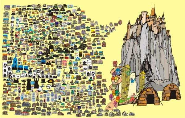 Material de Vector Casa de dibujos animados