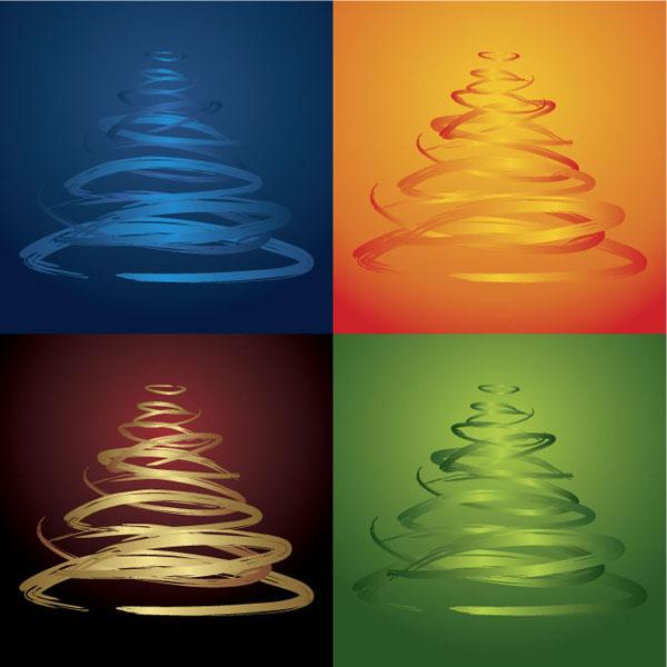 Pohon Natal empat-warna vektor bahan