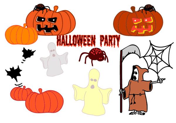 Halloween, fantômes, les citrouilles, les araignées, les chauves-souris