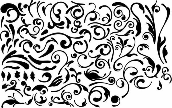 ชุดของวัสดุเวกเตอร์องค์ประกอบของการออกแบบสีดำและสีขาว -4 (ลวดลายธรรมดา)