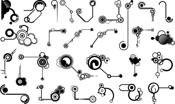 Série de elementos de design preto e branco de vetor material -11 (forma de linha)