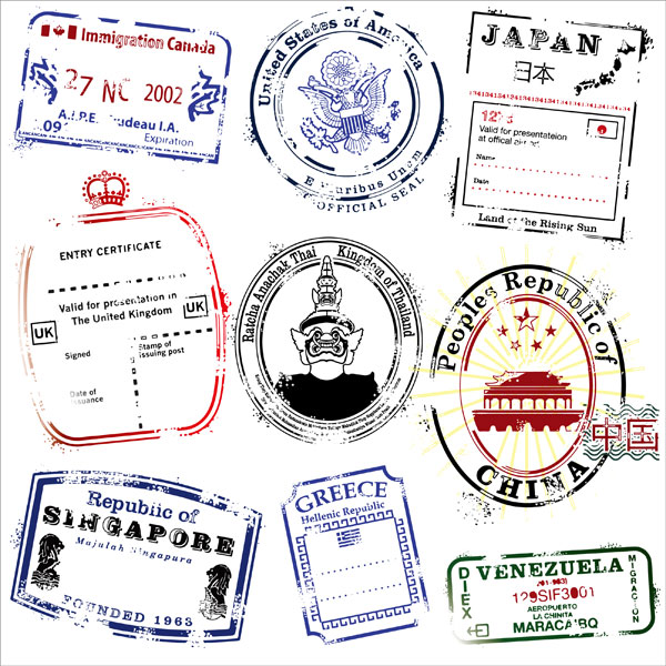 Varios países postmark material de vectores
