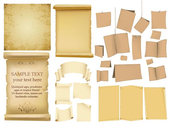 Papel viejo, papel kraft, viejos libros de material de vectores
