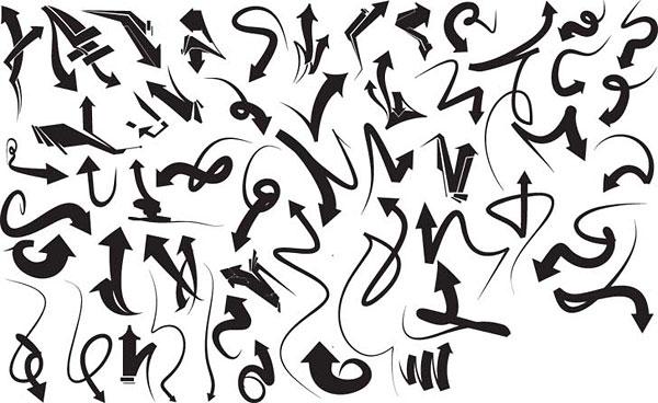 Серия черно-белый дизайн элементов векторного материала -5 (динамический стрелка)