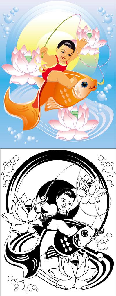 Картины, lotus, рыба, Золотая рыбка вектор