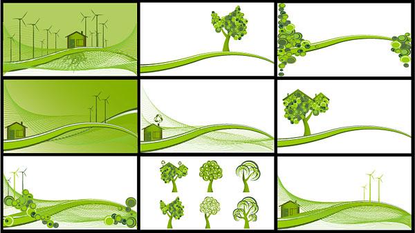 Energía eólica, reducir las emisiones, árboles, laderas de material de vectores